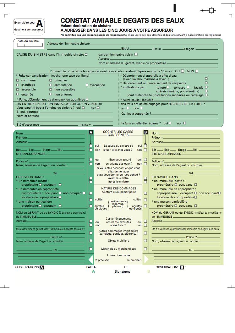 CONSTAT EAUX TÉLÉCHARGER PDF DEGAT DES AMIABLE